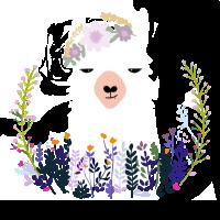 Lama in Blumen