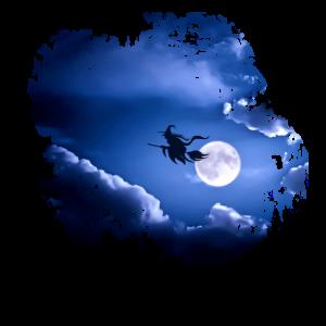 Halloween Hexe im Vollmond Motiv Geschenk