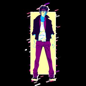 Mann Jeans 80er Retro Violett