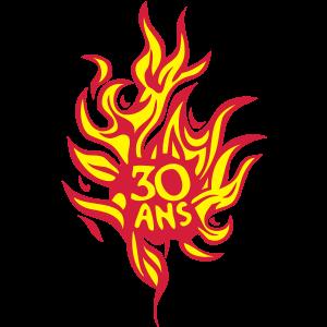 30 Jahre Jubiläum Flamme Feuer brennt