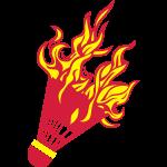 Badminton Federball, Flamme, Feuer Fire1