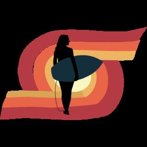 Wassersport Surfen Surfgirl Surfboard retro Motiv