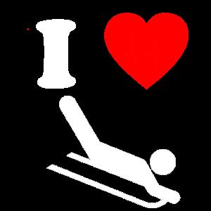 Ich liebe Schlittenfahren Wintersport Schlitten