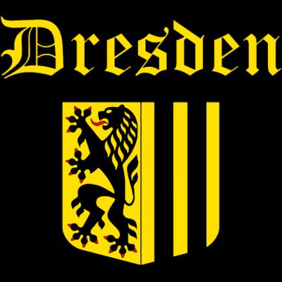 Wappen von Dresden mit gelber Schrift - Wappen von Dresden, gelbe Schrift mit schwarzer Umrandung - löwe,dynamo,deutschland,Sächsisch,Schwarz,Sachsen,Gelb,Elbe,Dresden,BRD
