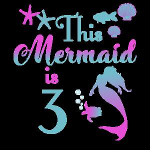 This mermaid is 3 years girl birthday