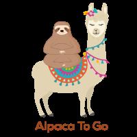 Faultier reitet Lama Al Paca to go