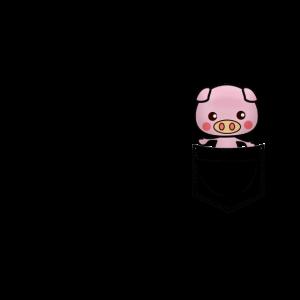 Schwein in Brusttasche black