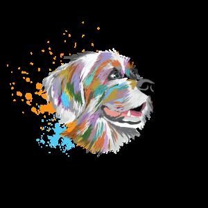Hund Hundekopf in farbiger Kunst