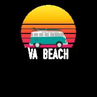VA-Strand-Sonnenuntergang, der Hippie Van Art Virginia surft