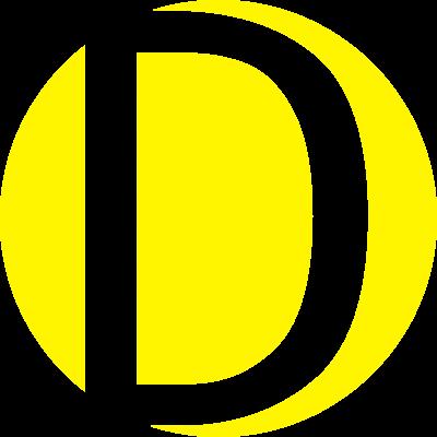 gelbes D - Stylisches transparentes D, das sich in einem gelben Kreis befindet. Dieser Buchstabe, kann als Vor- oder Nachname verwendet werden oder für ein Buchstabenspiel mit anderen Buchstaben. - letter,Vorname,Nachname,D,Buchstabe,Anfangsbuchstabe,Alphabeth