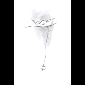 Papierschiff Skizze