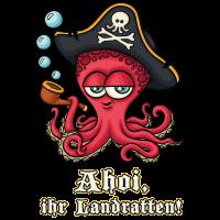 Ahoi ihr Landratten, süße Krake mit Piraten Spruch
