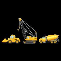 Bagger - Kran - Zementmischer - Bau
