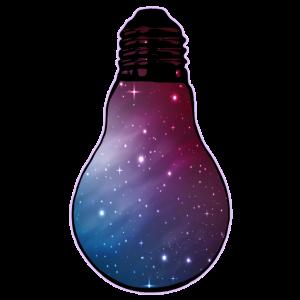 Blick ins Weltall: Glühbirne mit Sternenhimmel