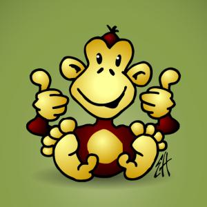 Affe mit seinen vier Daumen oben