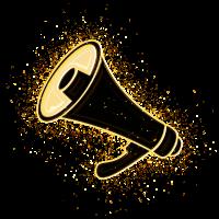 Megaphon Kommunikation vergoldet golden - Gold
