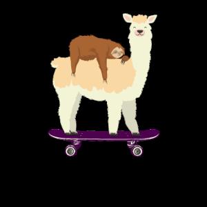 Skateboarding Lama Schlafendes Faultier Skateboard