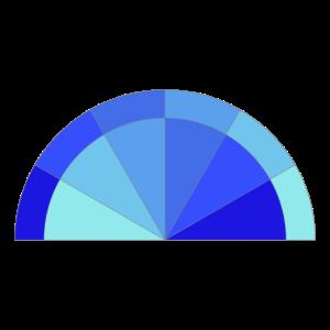 Doppelter blauer Übergang Halbkreis