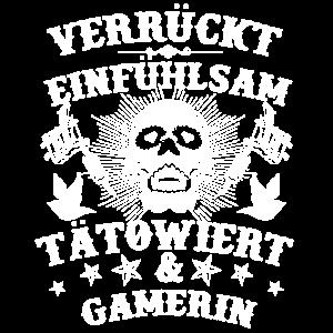 Verrückt Tätowiert Skull Gamerin Geschenk