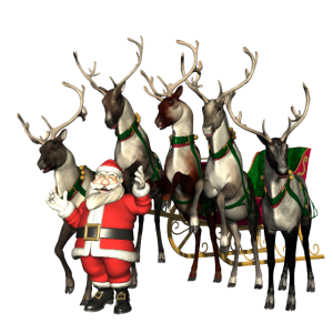 lustiger Weihnachtsmann mit Rentieren