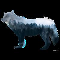 WOLF Wald Natur Doppelbelichtung Geschenk