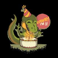 T Rex Geburtstagsfeier RAWR Ich bin 3 Dinosaurier