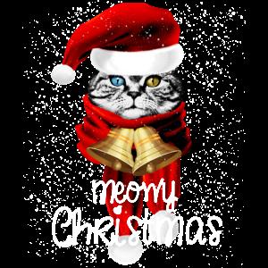 Meowy Weihnachten Lustige Katze mit Glocke Mütze