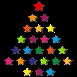 Weihnachtsbaum aus bunten Sternen, Tasse, Mousepad