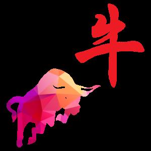 Chinesische Sternzeichen Büffel Low Poly Art