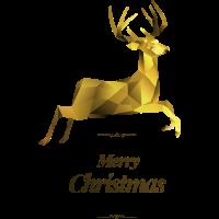 Hirsch Gold Weihnachten Polygone