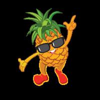 Tanzende Ananas mit Sonnenbrille