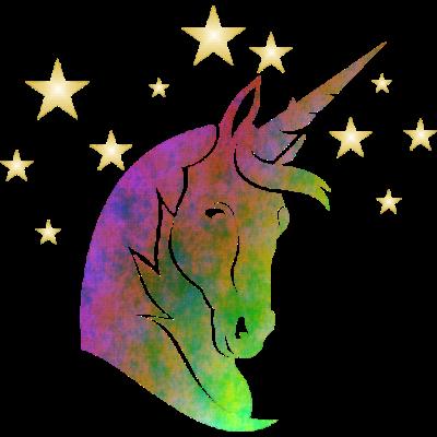 Einhorn bunt vor Sternenhintergrund - Weises Einhorn vor Sternehimmel, die Zukunft erahnend - unicorn,phantasy,astrologe,Wappentier,Sterne,Schwäbisch Gmünd,Märchen,Himmel,Hellseher,Einhorn