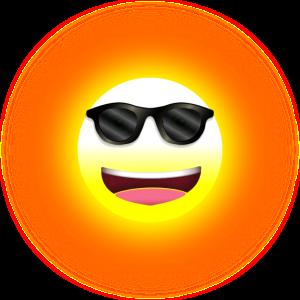 gelber lachende Sonne mit lässiger Sonnenbrille