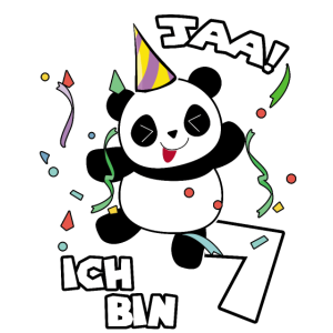 Ja ich bin 7 Geschenk 7. Geburtstag Feier Panda