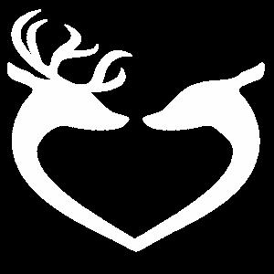 Hirsch und Reh als Herz in weiß