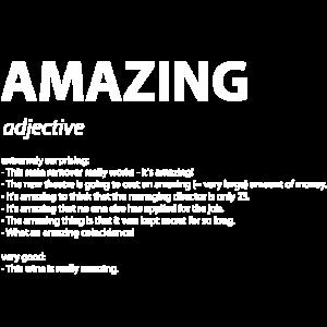 """Wort Definition """"amazing"""" Geschenk Idee weiss"""
