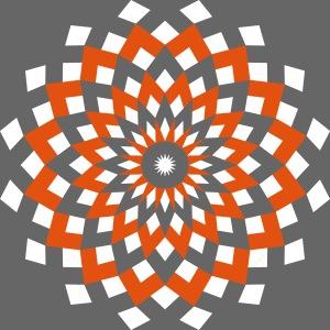 Mandala losanges blanc orange