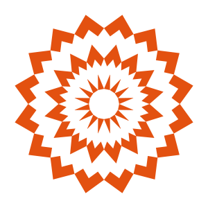 Orange weiße Diamantmandala