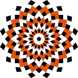 Mandala losanges noir orange
