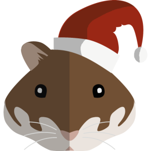 Hamster mit Weihnachtsmütze