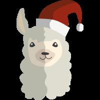 Lama Alpaca mit Weihnachtsmütze