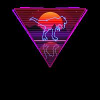 Retro Neon Rex Dinosaurier 80s 90s Vintage Disco