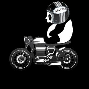 Helm Cafe Racer Panda Reiten Ein Motorrad