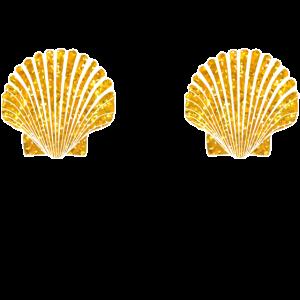Goldene Muschel Meerjungfrau Bikini Nippel Brüste
