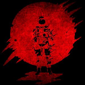 Astronaut in der Sonne Spece Sterne Red Fire