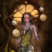 Wunderbare Steampunk Fee mit Uhren und Ausrüstung