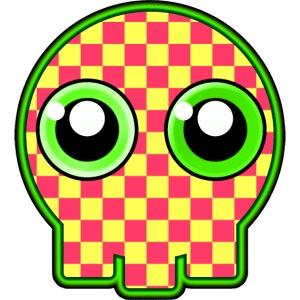 gullig dödskalle med gröna ögon