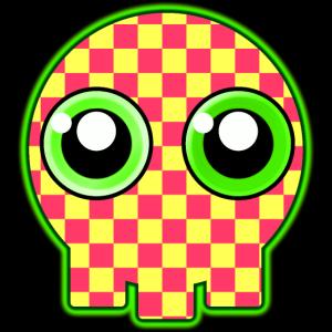niedlicher Schädel mit grünen Augen