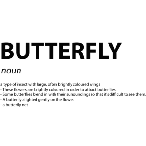 "Wort Definition ""Butterfly"" Geschenk Idee"