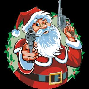 Böser Weihnachtsmann mit Pistolen